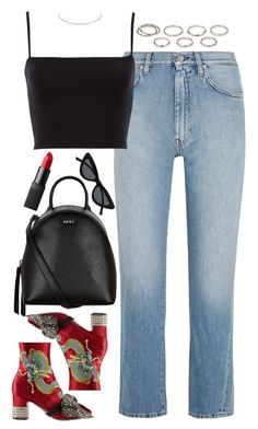 """Untitled #615"" by lindsjayne ❤ liked on Polyvore featuring Gucci, Totême, DKNY, Le Specs, NARS Cosmetics and Akira"