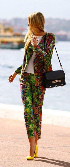Camilla & Marc suit, Zara top, Asos heels, and Proenza Schouler bag