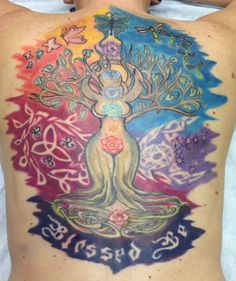 This is a custom tattoo drawn by Tini Tatu. It was made to have the sun rising and moon falling. It has butterflies in the light and fireflies in the night. The pentagram in the moon and Capricorn constellation.   #celtictree #pagan #triquatra #colorfultattoo #nightandday #pagantattoo #sunandmoon #blessedbe