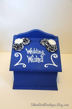 Wedding Advice Box For Bride And Groom - Wedding Wishes - Handmade Rosettes…