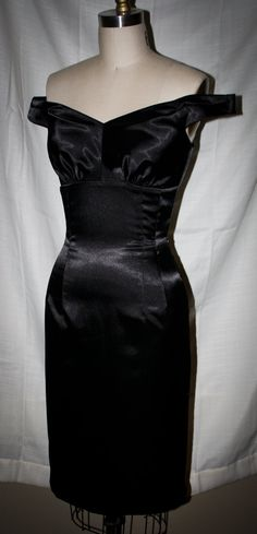 Pinup-Marilyn Monroe Style Wiggle Dress- Stretch Satin Off-Shoulder-Custom Sized