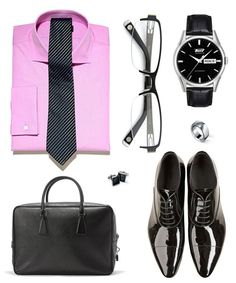 6. Job interview: this outfit will show the boss you are up to date and very professional with a tie and classic watch. The shoes are a important part showing you are all business. The bag adds that you are organized and a hard worker. You would wear black pants with a black belt and silver buckle.