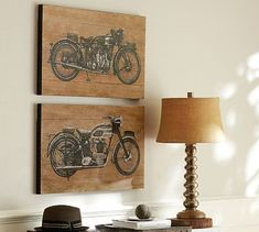 Motorcycle Prints, Set of 2 #potterybarn  why not a bicycle with caption - Enjoy the Ride