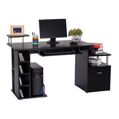 New!                                   							HOMCOM Wood Computer Desk Table Laptop Workstation Office Home Drawer Shelf Storage Black 							 							                                 - Online Only