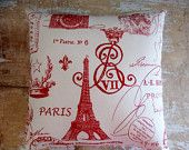 Red Paris Pillow, Eiffel Tower, French Country Home, Cottage Decor, French Decor