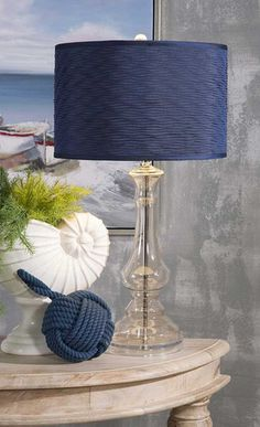 IMAX Starboard Glass Lamp - A salute to navy blue: Glass lamp with a textured shade reminiscent of knotted rope is awash in nautical style.