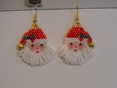 Items similar to Jolly Old Saint Nicholas Beaded Santa Earrings on Etsy Seed Bead Patterns, Jewelry Patterns, Beading Patterns, Beaded Christmas Ornaments, Christmas Earrings, Seed Bead Jewelry, Seed Bead Earrings, Seed Beads, Beaded Crafts