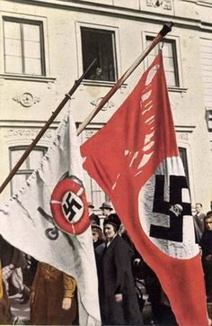 Berlin, Germany, 1933, Historic Nazi Party banners.