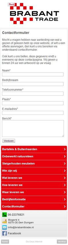 Voorbeeld van een contactformulier dat is aangepast voor een mobiele telefoon. m.brabanttrade.nl