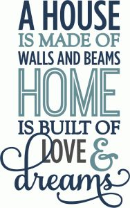 Silhouette Online Store - View Design #62245: home is built on love & dreams - phrase