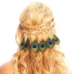 Peacock Feather Hair Grips