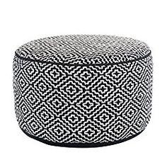 Maison Black & White Diamond Pattern 20″ Round Hand Knitted Ottoman Pouf