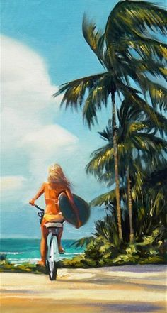 Island Surf Check.jpg This is a Limited Edition giclee of one of the most popular surf/island paintings of Wade's. The painting shows a girl in a bikini, with a surfboard, on a beach cruiser - headed for the waves!