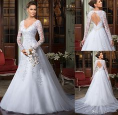 2014 Wedding Dresses Floor Length Backless Appliques Sexy A-Line Wedding Dresses | Buy Wholesale On Line Direct from China