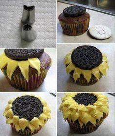 How to make sunflower cupcakes using an Oreo and yellow frosting. Must try!