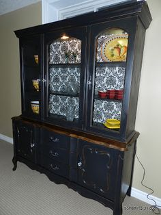 Classic buffet/hutch in black with damask print backing