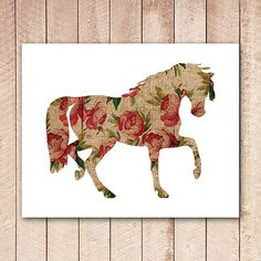 Horse Printable, Horse Decor, Horse Wall Art, Roses, Nursery Art Print, Vintage Inspired, Home Decor
