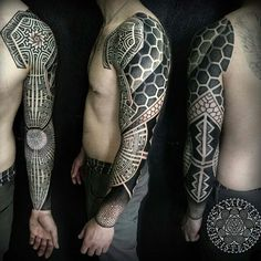 My Most Favorite Geometric Tattoo Half Sleeve Tattoos Forearm, Tribal Sleeve Tattoos, Black Ink Tattoos, Body Art Tattoos, Geometric Mandala Tattoo, Geometric Tattoo Design, Tattoo Dotwork, Samoan Tattoo, Armour Tattoo