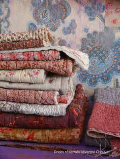 Wonderful old home made quilts had a very practical use, keeping warm