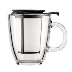 13,42€ Bodum Yo-Yo Set - Tetera individual, 0,35 l, taza de cristal, filtro y tapa plástico, color negro