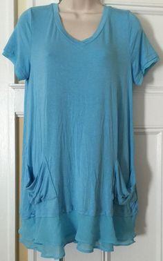 Womens Small Tee Top Tunic Logo Lori Goldstein QVC Chiffon Trim Front Pockets | eBay