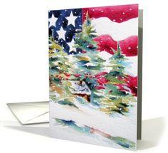 Patriotic American Flag Christmas card (416469)  by Chris Ambrose