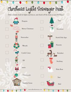 Christmas Light Scavenger Hunt for Kids (Printable) - Talk of the Trains