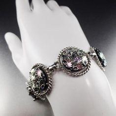 Sarah Coventry Northern Lights Aurora Borealis Glass Bracelet Estate Jewelry