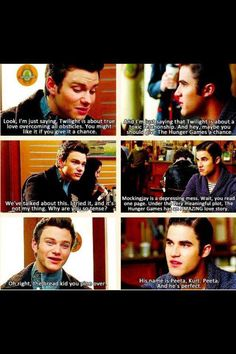 Glee referencing Twilight and The Hunger Games. I agree with Blaine!