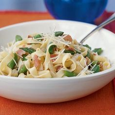 Fettuccine with Prosciutto and Asparagus | Serve with a tossed garden salad or sliced tomatoes sprinkled with basil and feta.