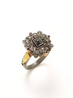 Kevia Fine Jewelry Diamond & Ruby Floral Ring