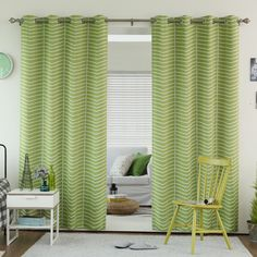 Best Home Fashion Chevron Grommet Top Room Darkening Curtain - GROM_CHEVRON07-84-AVOCADO