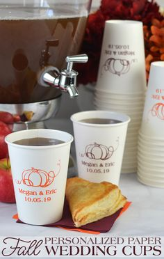 12 Oz Personalized White Paper Fall Drink Cups Set Of 50