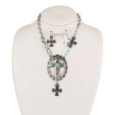 New WESTERN Patina Southwestern CROSS Silver WOMEN'S Necklace & Earring SET
