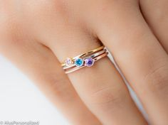 Personalized birthstone ring with your desired birthstone. A minimalist dainty ring as a gift for her, for bridesmaids, friends, for women who love simplicity and minimalist style ♡  ► FEATURES; Gemstone: 3mm Material Options: 925k Sterling Silver, Rose Gold Filled, Yellow Gold Filled. 14K Solid Gold Options are available (Please contact me about the price).  ► HOW TO ORDER; Please select your preffered size and material from the menu while adding to card. Please write your preffered…