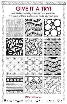 Zentangle template with patterns & designs for meditative drawing - designs by Jane Oliver Zentangle Drawings, Doodles Zentangles, Zentangle Patterns, Doodle Drawings, Doodle Art, Zen Doodle Patterns, Patterns To Draw, Flower Drawings, Zentangle Art Ideas
