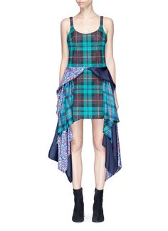 ESTEBAN CORTAZAR 'Scarf' mixed print satin sash drape denim dress. #estebancortazar #cloth #