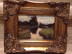 Country French Framed Oil Painting-Winding Stream