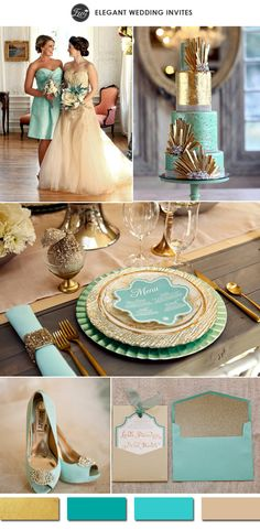 metallic gold and teal tiffany inspired vintage wedding color ideas 2015 #elegantweddinginvites