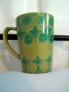 Hand-painted Mug with Moroccan design. $12.00, via Etsy.