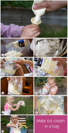 How To Make Ice Cream - Homemade Ice Cream - Kids' Cooking One word - Awesome! Ice Cream Kids, Make Ice Cream, Homemade Ice Cream, Frozen Desserts, Frozen Treats, Activities For Kids, Crafts For Kids, Summer Treats, Cooking With Kids
