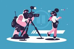 Journalist and Cameraman Doing Report Together #Journalist, #Cameraman, #Report Illustrations, Flat Illustration, Vector Design, Vector Art, Microphone Studio, News Studio, Reality Tv Shows, Kid Beds, Pose Reference