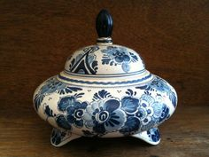 Vintage Delft Blue and White Sugar Pot, Made by Pyramide