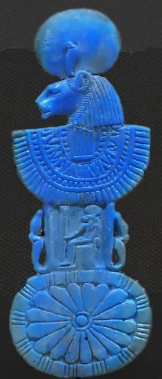 Sekhmet creating balance… This interesting amulet was used as a counterweight to balance the intricate Menat necklace, and would hang down the back of the neck. Often worn by the priestesses of Hathor. New Dynasty, circa 1295–1070 B.C