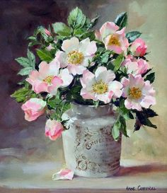 """A """"Briar Roses, oil on board, by Anne Cotterill at Thompson's Gallery"""", """"Ahmet krtl - \""""Wild Roses in a Confectioner's Jar\"""" by Anne Cotterill . Art Floral, Floral Prints, Watercolor Flowers, Watercolor Paintings, Original Paintings, Painting Flowers, Botanical Art, Beautiful Paintings, Painting Inspiration"""