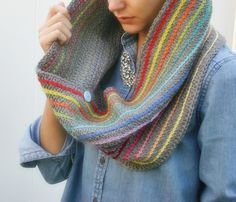 Rainbow Stripe Cowl ♥ Pattern here, with added surface slip stitching http://crochetincolor.blogspot.ie/2011/10/soft-stitch-cowl-pattern.html