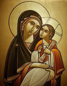 Coptic Iconographer Guirguis T Boktor-Bekhit Fahim Religious Pictures, Religious Icons, Religious Art, Virgin Mary Art, Blessed Virgin Mary, Christian Images, Christian Art, Byzantine Icons, Renaissance Paintings
