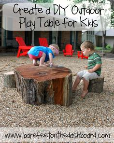 Use found or reclaimed wood to create a unique DIY outdoor play table and play structure for your kids. #DIY #playoutside