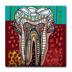50 off  Tooth Dental Anatomy Art Tile Ceramic by HeatherGallerArt, $10.00