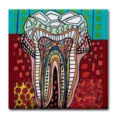 50 off Tooth Dental Anatomy Art Tile Ceramic by HeatherGallerArt, $10.00